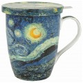 "McIntosh Fine Bone China - Van Gogh ""Starry Night"" Tea Mug w/Infuser & Lid"