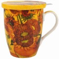 McIntosh Fine Bone China - Van Gogh Sunflowers Tea Mug w/Infuser & Lid