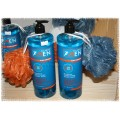 All About Men 3-in-1 Shampoo, Conditioner & Body Wash and Shower Pouf Set