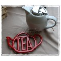 "Cast Iron ""Tea"" Teapot Trivet - Red"
