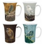 "Robert Bateman ""Owls""  McIntosh Fine Bone China Gift Boxed Mug Set of (4)"