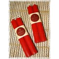 "Honey Candles - 6"" Pair of  Red Tube Candlesticks - Made in BC"