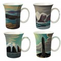 "McIntosh Fine Bone China ""Harris"" Set of 4 Mugs"