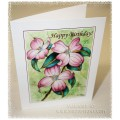 "Laura Leeder Watercolor Prints - Birthday Greeting Card ""Pink Dogwood Blossoms"""