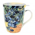 "McIntosh Fine Bone China - Van Gogh ""Irises"" Tea Mug w/Infuser & Lid"