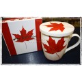 McIntosh Fine Bone China - Memories of Canada Tea Mug w/infuser & Lid
