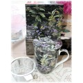 "McIntosh Fine Bone China Tea Mug w/infuser & Lid - Robert Bateman ""Roadside Tapestry"""