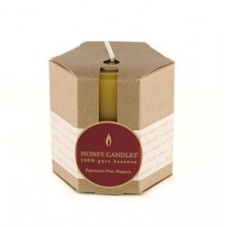 "Honey Candles - Pure Beeswax 3"" Pillar packaged - Made in BC"