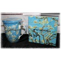 McIntosh Fine Bone China - Vincent Van Gogh Almond Blossom Tea Mug w/infuser & Lid