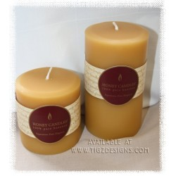 "Honey Candles - Beeswax 5 x 3"" Pillars - Made in BC"