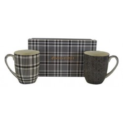 McIntosh Fine Bone China - Shades of Grey Mug Pair