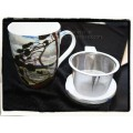 "McIntosh Fine Bone China Tea Mug w/infuser & Lid - Tompson ""The West Wind"""