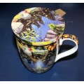 McIntosh Fine Bone China Tea Mug w/Infuser & Lid - Arthur Lismer Lily Pond