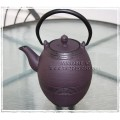 "Cast Iron Teapot - ""Barrel"" Design"