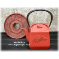 Cast Iron TeaPot & Trivet  - Red Otani
