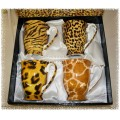 "McIntosh Fine Bone China ""Go Wild"" Set of 4 Mugs"
