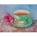 Laura Leeder Watercolor Print Note Cards - Cup of Hope, Pink Garden Tea 2013