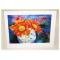 "Laura Leeder Watercolor Print Greeting Cards ""Chrysanthemums ~ Pure Happiness"""
