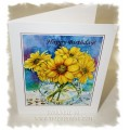 Laura Leeder Watercolor Print Birthday Card - Golden Mums