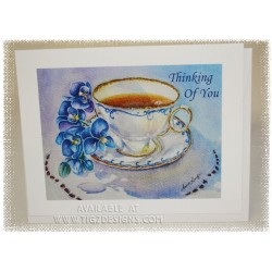 "Laura Leeder Watercolor Print - Thinking of You  Tea Cup Card - ""Treasured Moments"""